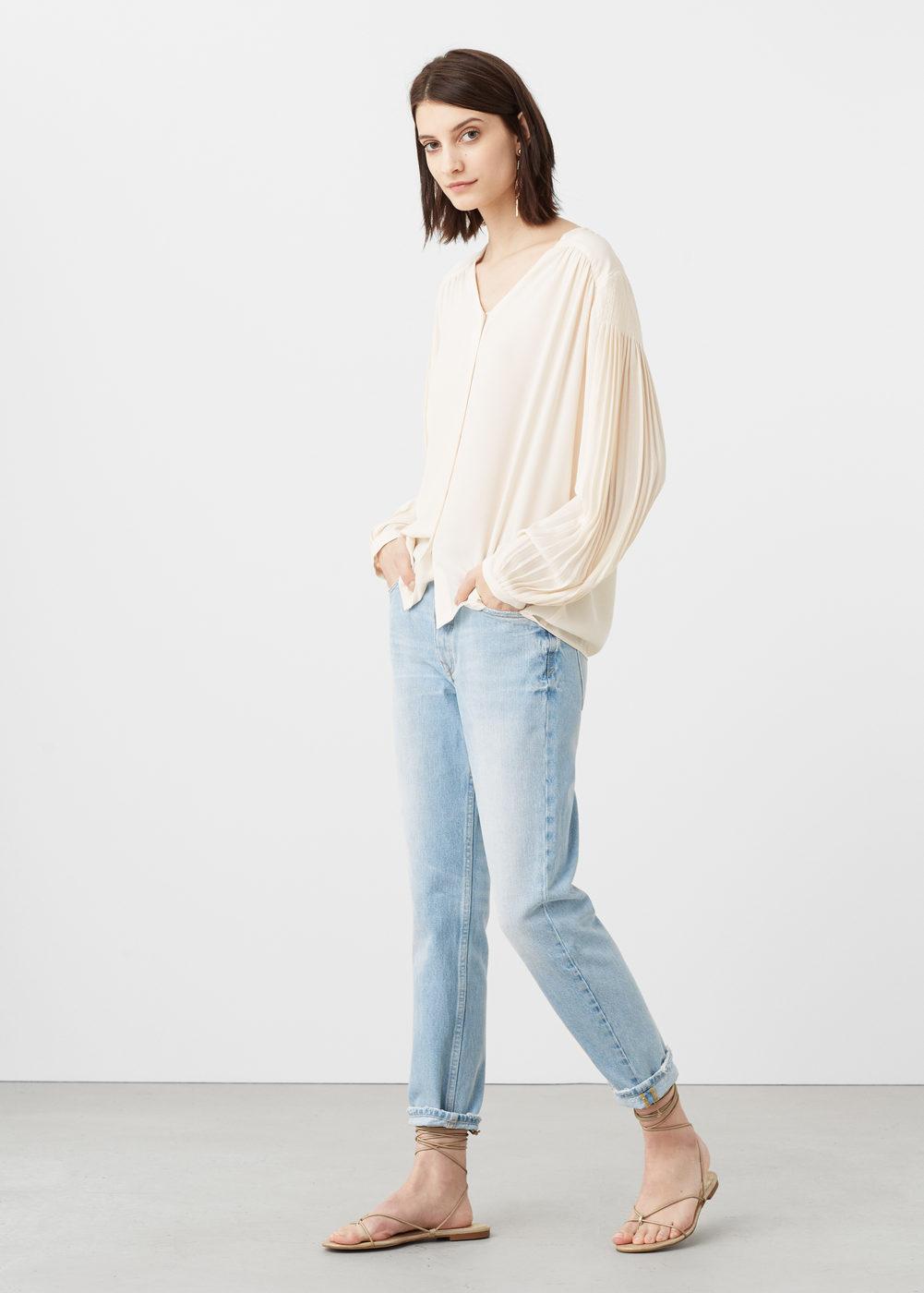 blusa mangas plisadas mango