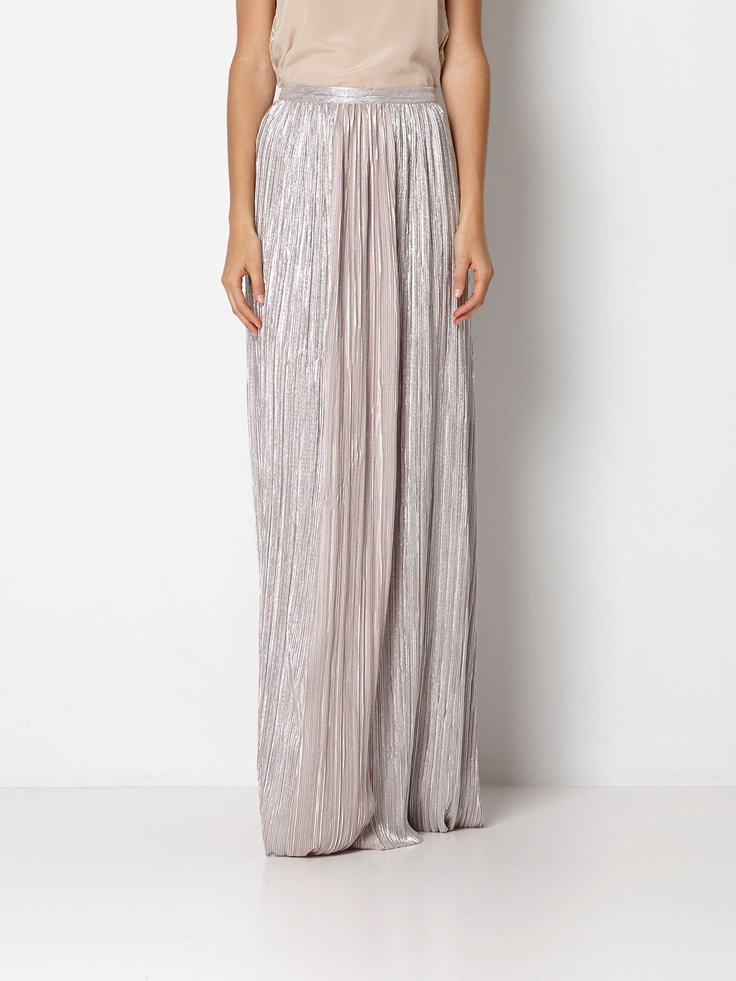 falda plisada metalizada intropia