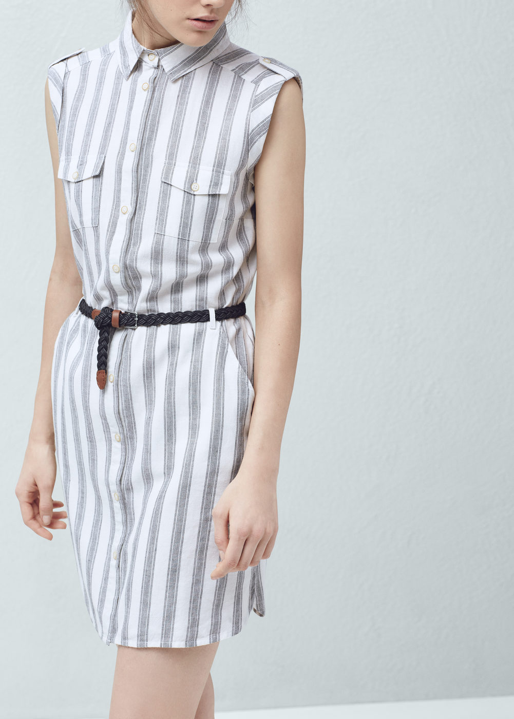 vestido camisero mango rayas sin manga