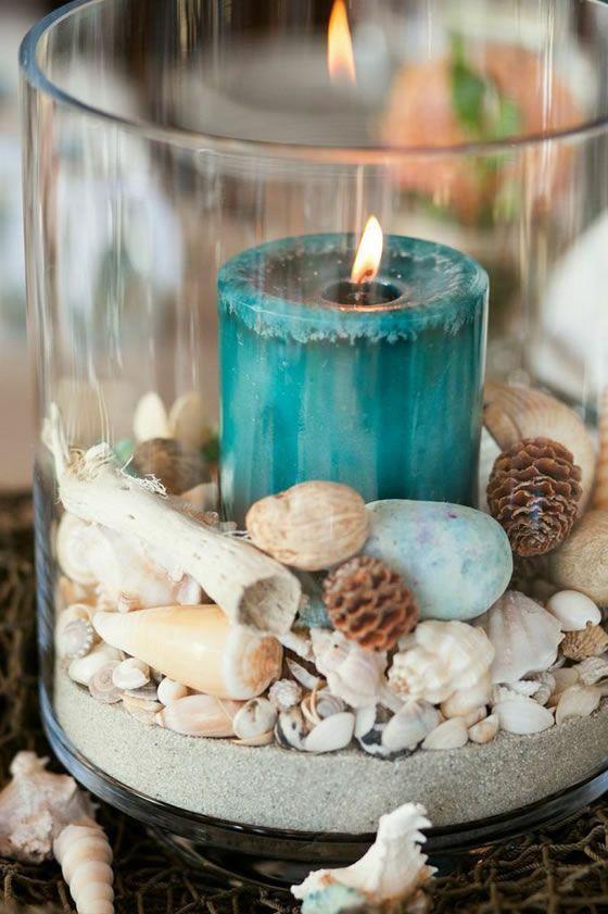 decoración de mesas de verano con velas