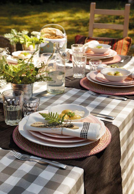 decoración de mesas de verano mediterráneas