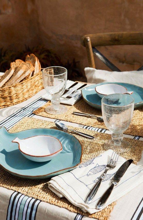 decoración de mesas de verano con peces