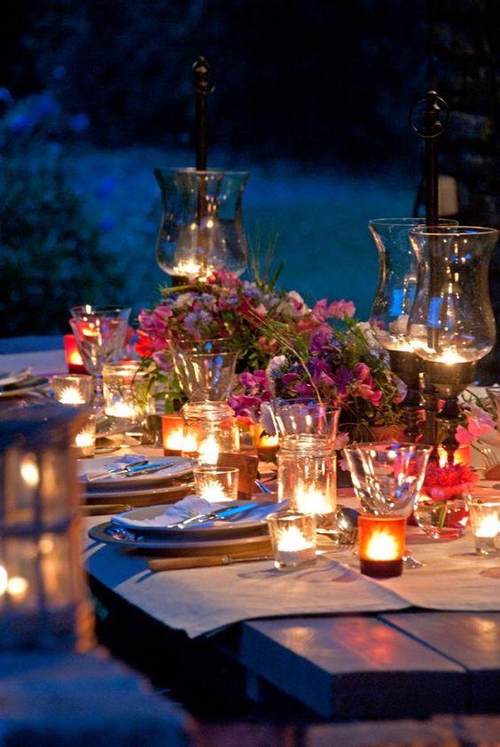 decoración de mesas de verano con velitas
