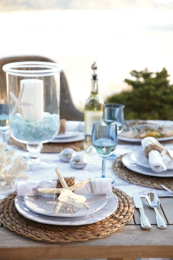 decoración de mesas de verano con estrellas de mar