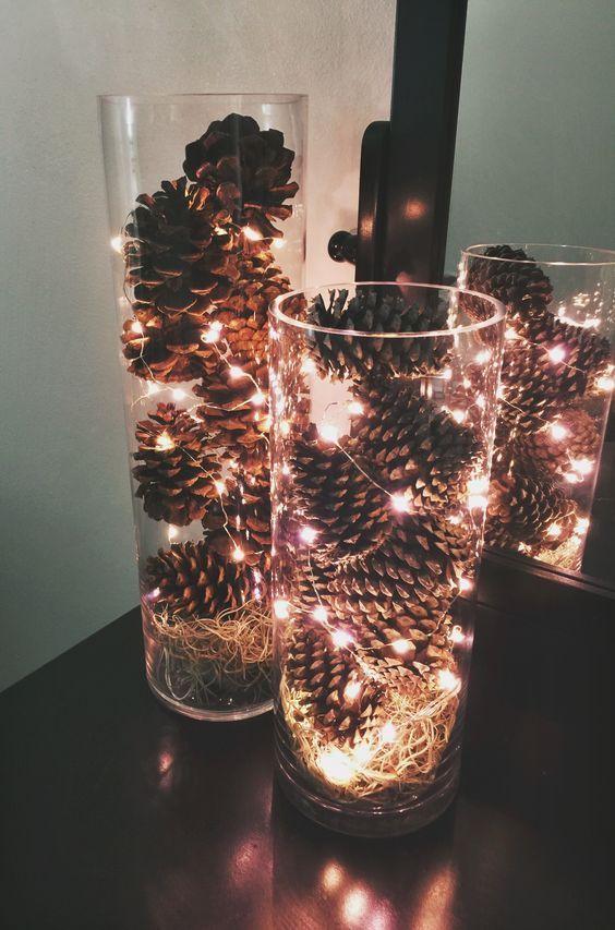 mesa bonita en navidad con iluminación especial