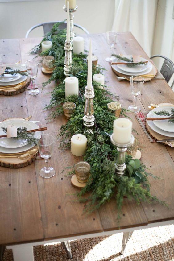 mesa bonita en navidad y acogedora