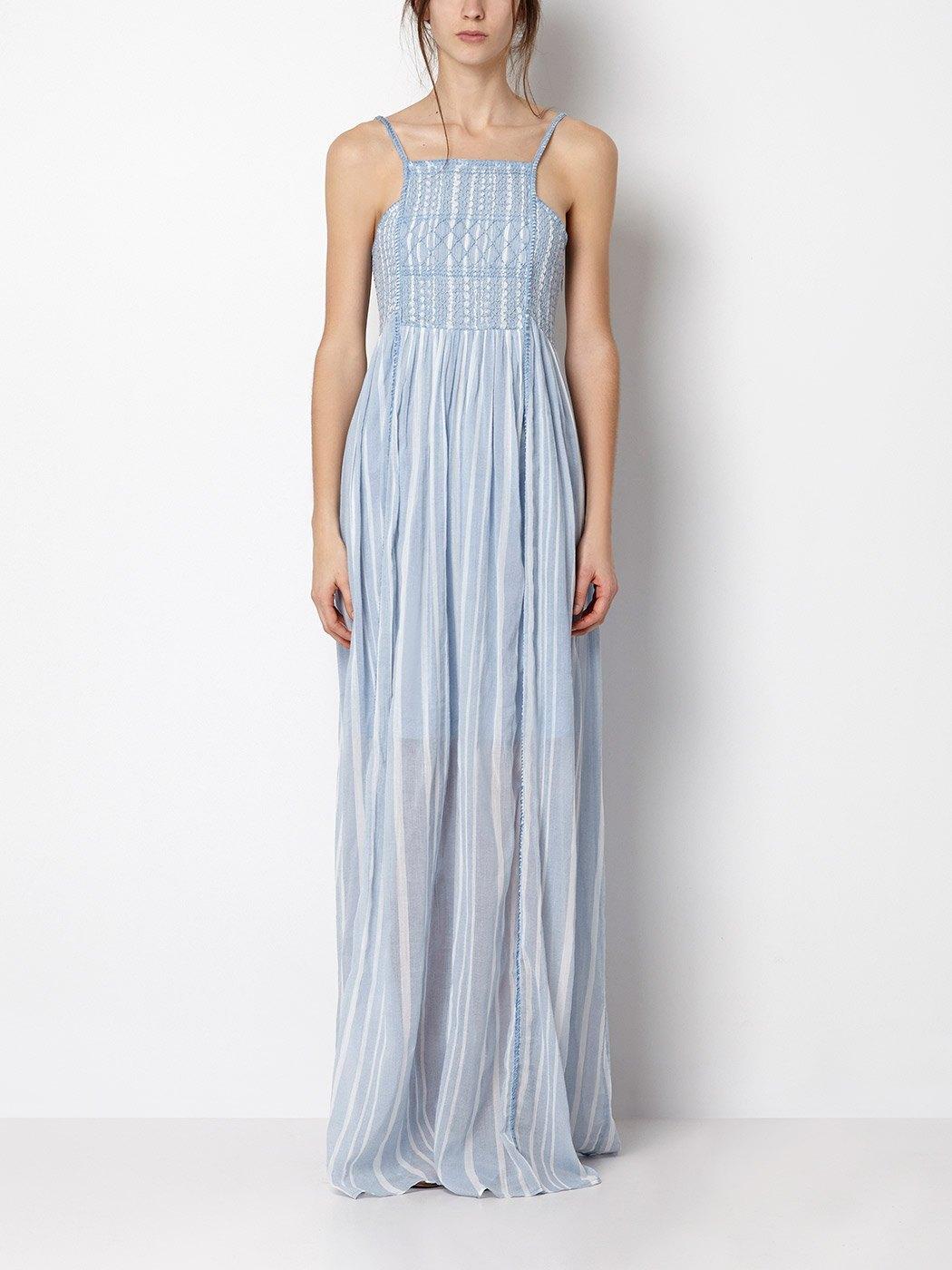 maxi vestido rayas azul intropia