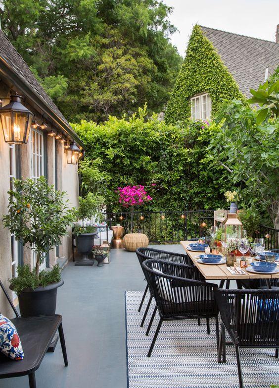 decoración para terrazas de verano con comedor