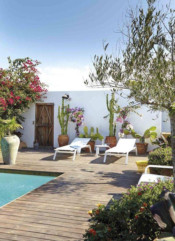 decoración para terrazas de verano con solarium